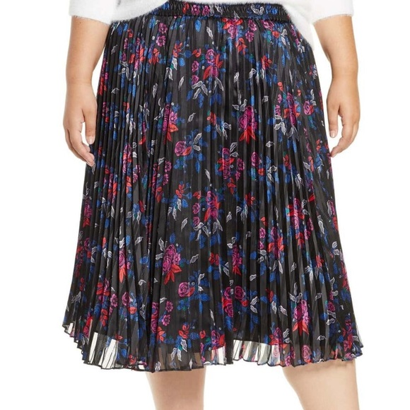 Halogen NWT Pleated Woven Floral Skirt Size 2X
